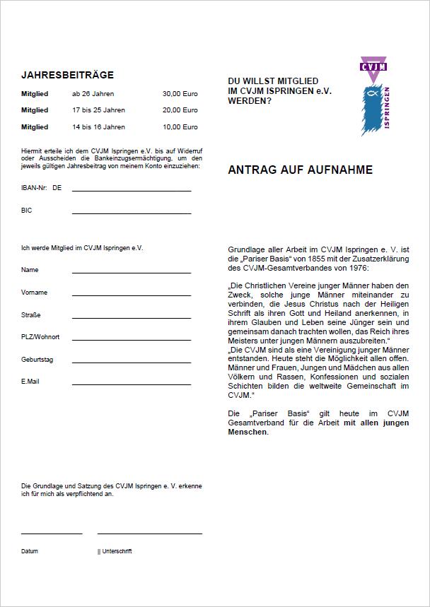 Mitgliedsantrag CVJM Ispringen e. V.